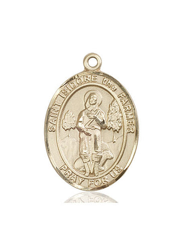 St. Isidore The Farmer 14 Kt Gold 1""