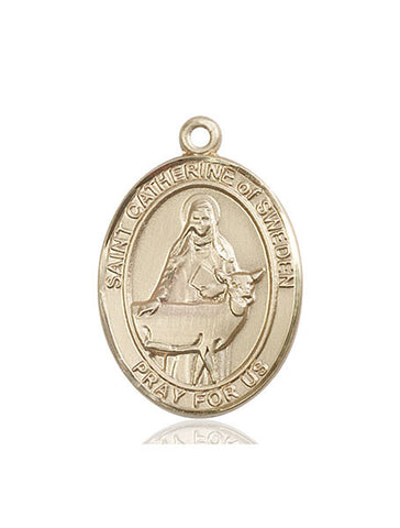 St. Catherine Of Sweden 14 Kt Gold 1""