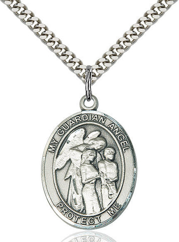 Guardian Angel W/children Pendant  Sterling Silver 1""
