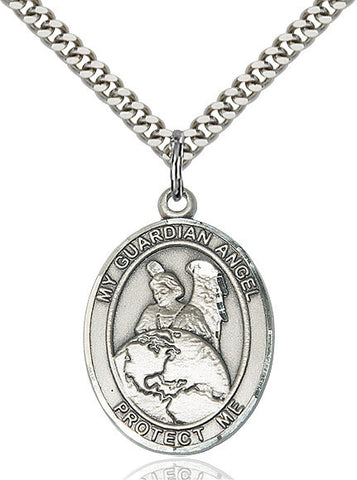 Guardian Angel Protector Pendant  Sterling Silver 1""