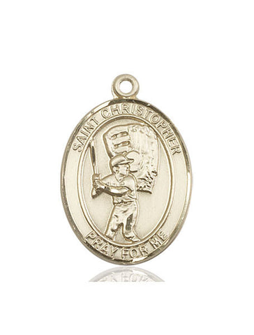 St. Christopher / Baseball Pendant  14kt Gold 1""