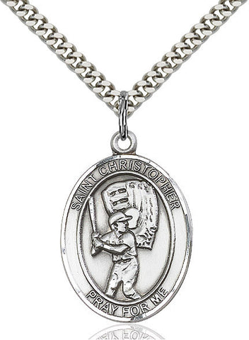 St. Christopher / Baseball Pendant  Sterling Silver 1""