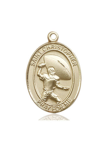 St. Christopher / Football Pendant  14kt Gold 1""