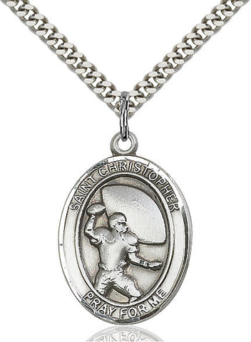 St. Christopher / Football Pendant  Sterling Silver 1""
