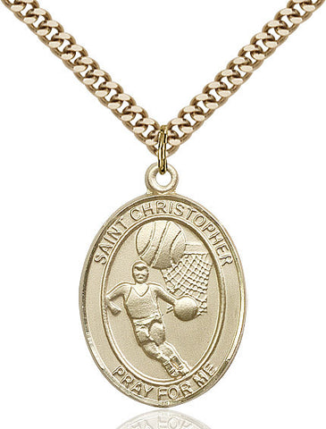 "St. Christopher / Basketball  14kt Gold Filled 1"" - Discount Catholic Store"