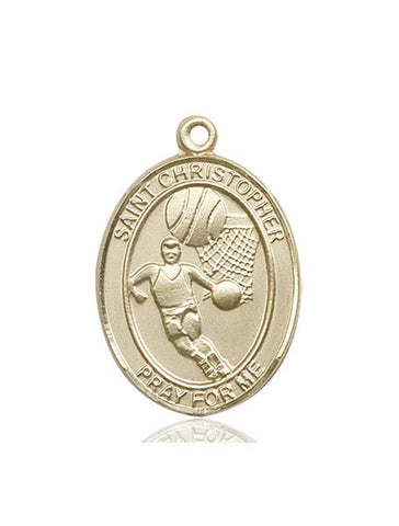 "St. Christopher / Basketball  14kt Gold 1"" - Discount Catholic Store"