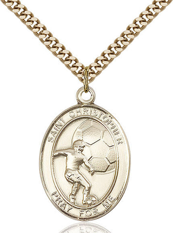 "St. Christopher / Soccer  14kt Gold Filled 1"" - Discount Catholic Store"