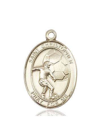 "St. Christopher / Soccer  14kt Gold 1"" - Discount Catholic Store"