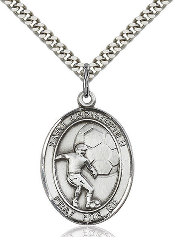 "St. Christopher / Soccer  Sterling Silver 1"" - Discount Catholic Store"