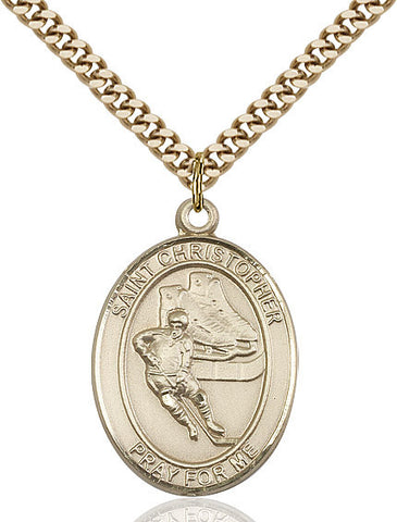 "St. Christopher / Hockey  14kt Gold Filled 1"" - Discount Catholic Store"