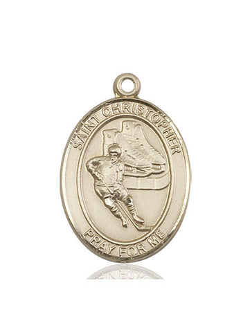 "St. Christopher / Hockey  14kt Gold 1"" - Discount Catholic Store"