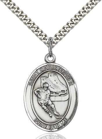"St. Christopher / Hockey  Sterling Silver 1"" - Discount Catholic Store"