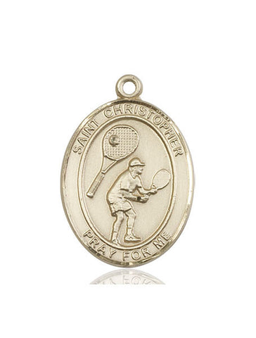 St. Christopher / Tennis Pendant  14kt Gold 1""