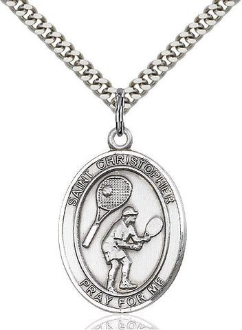 St. Christopher /  Tennis Pendant  Sterling Silver 1""