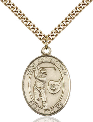 "St. Christopher / Golf  14kt Gold Filled 1"" - Discount Catholic Store"