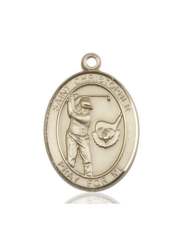 "St. Christopher / Golf  14kt Gold 1"" - Discount Catholic Store"