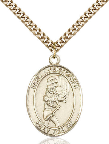 "St. Christopher / Softball  14kt Gold Filled 1"" - Discount Catholic Store"