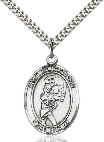 "St. Christopher / Softball  Sterling Silver 1"" - Discount Catholic Store"