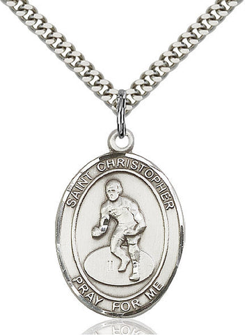 "St. Christopher / Wrestling  Sterling Silver 1"" - Discount Catholic Store"