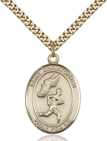 St. Christopher / Track&field Pendant  14kt Gold Filled 1""