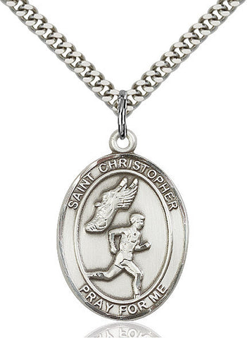 St. Christopher /  Track & Field Pendant  Sterling Silver 1""