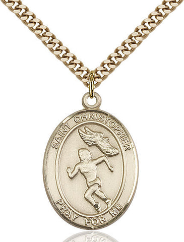 "St. Christopher / Track & Field  14kt Gold Filled 1"" - Discount Catholic Store"