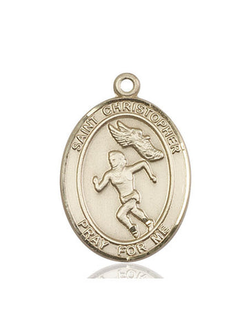 St. Christopher / Track&field Pendant  14kt Gold 1""