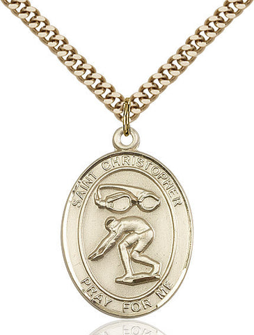 St. Christopher / Swimming Pendant  14kt Gold Filled 1""