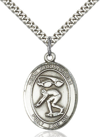"St. Christopher / Swimming  Sterling Silver 1"" - Discount Catholic Store"