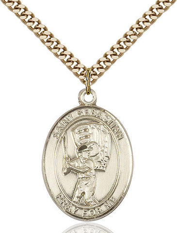 "St. Sebastian / Baseball  14kt Gold Filled 1"" - Discount Catholic Store"