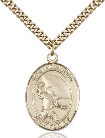 St. Sebastian / Football Pendant  14kt Gold Filled 1""