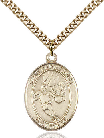 St. Sebastian / Basketball Pendant  14kt Gold Filled 1""