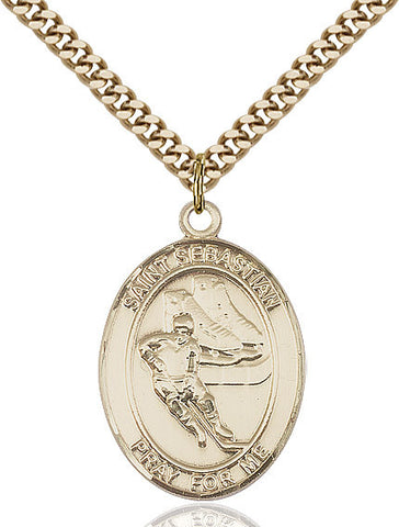 "St. Sebastian / Hockey  14kt Gold Filled 1"" - Discount Catholic Store"