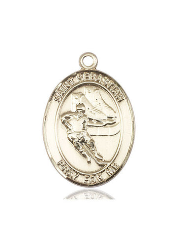 "St. Sebastian / Hockey  14kt Gold 1"" - Discount Catholic Store"