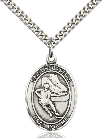 "St. Sebastian / Hockey  Sterling Silver 1"" - Discount Catholic Store"