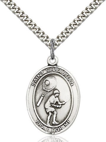 "St. Sebastian / Tennis  Sterling Silver 1"" - Discount Catholic Store"