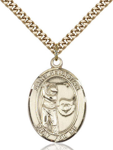 St. Sebastian / Golf Pendant  14kt Gold Filled 1""