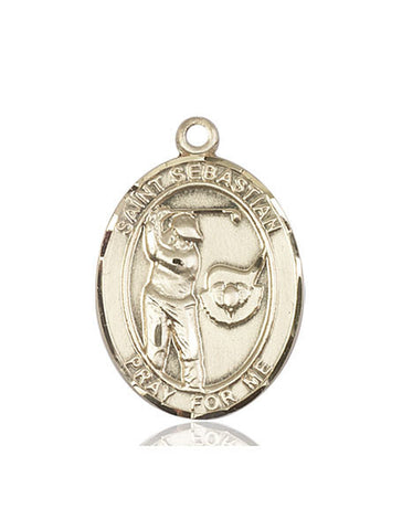 "St. Sebastian / Golf  14kt Gold 1"" - Discount Catholic Store"