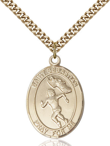 "St. Sebastian / Track & Field  14kt Gold Filled 1"" - Discount Catholic Store"