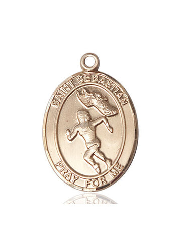"St. Sebastian / Track & Field  14kt Gold 1"" - Discount Catholic Store"