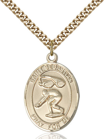 St. Sebastian / Swimming Pendant  14kt Gold Filled 1""
