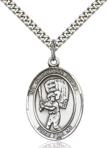 "Guardian Angel / Baseball  Sterling Silver 1"" - Discount Catholic Store"