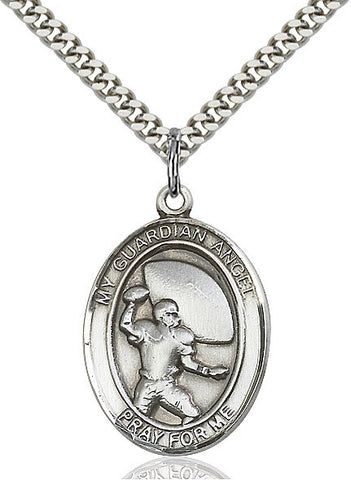 "Guardian Angel / Football  Sterling Silver 1"" - Discount Catholic Store"