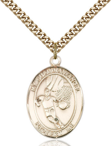"Guardian Angel / Basketball  14kt Gold Filled 1"" - Discount Catholic Store"