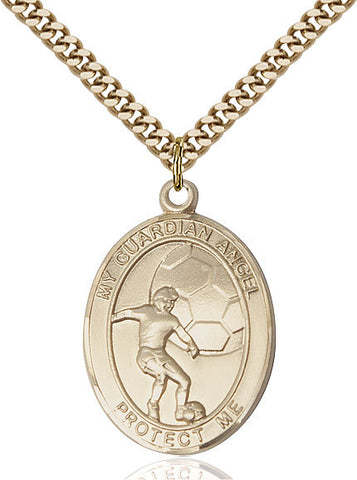 Guardian Angel / Soccer Pendant  14kt Gold Filled 1""