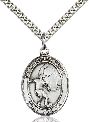 Guardian Angel / Soccer Pendant  Sterling Silver 1""