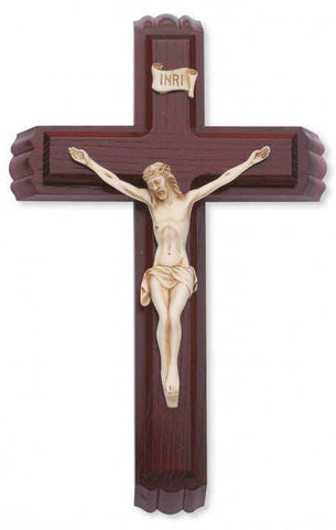 "12"" Sick Call Set - Cherry Wood Cross - Discount Catholic Store"