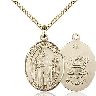 "Navy / St. Brendan Medal<br>14Kt Gold Filled 1"" - Discount Catholic Store"
