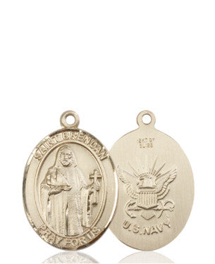 "Navy / St. Brendan Medal<br>14Kt Gold 1"" - Discount Catholic Store"