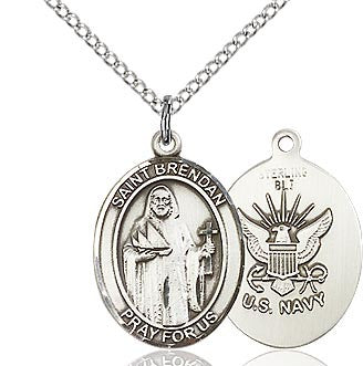 "Navy / St. Brendan Medal<br>Sterling Silver 1"" - Discount Catholic Store"